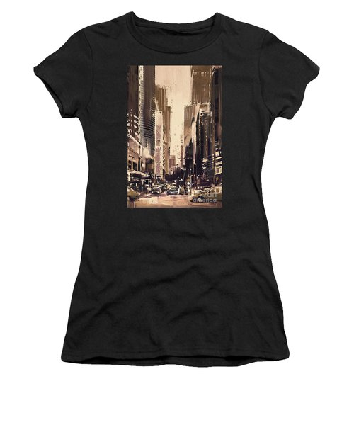 Women's T-Shirt featuring the painting Hong-kong Cityscape Painting by Tithi Luadthong