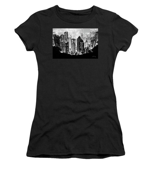 Women's T-Shirt (Athletic Fit) featuring the photograph Hong Kong Nightscape by Joseph Westrupp