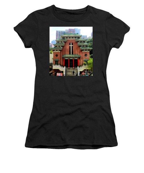 Women's T-Shirt (Junior Cut) featuring the photograph Hong Kong Temple by Randall Weidner