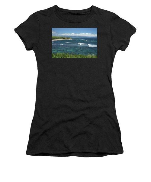 Ho'okipa Beach View From Ho'okipa Beach Park Hana Maui Women's T-Shirt (Athletic Fit)