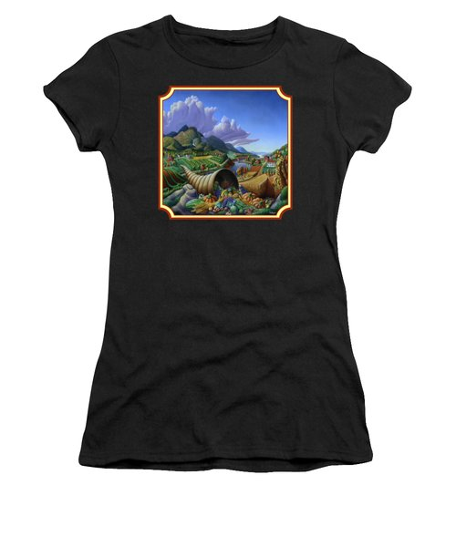 Horn Of Plenty Farm Landscape - Bountiful Harvest - Square Format Women's T-Shirt
