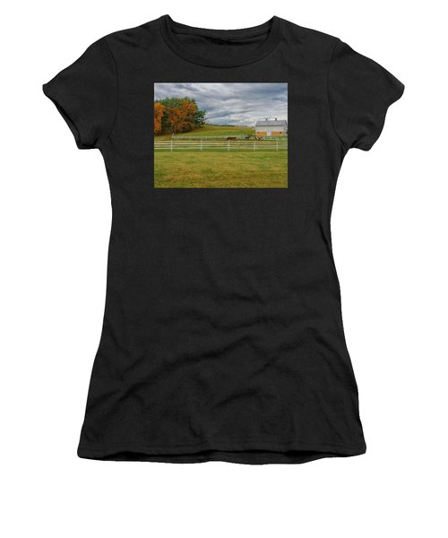 Horse Barn In Ohio  Women's T-Shirt (Athletic Fit)