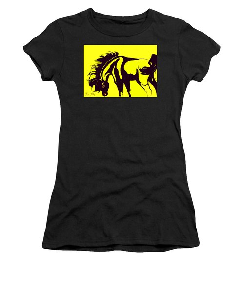 Horse-black And Yellow Women's T-Shirt (Junior Cut) by Loxi Sibley