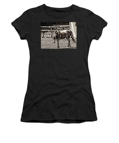 Horse In Black And White Women's T-Shirt (Athletic Fit)