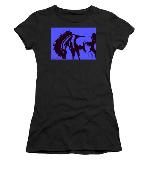 Horse In Blue And Black Women's T-Shirt (Junior Cut) by Loxi Sibley