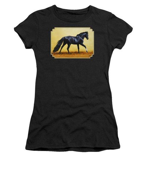 Horse Painting - Black Beauty Women's T-Shirt (Junior Cut) by Crista Forest