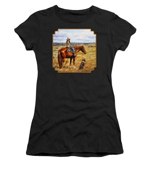 Horse Painting - Waiting For Dad Women's T-Shirt (Athletic Fit)