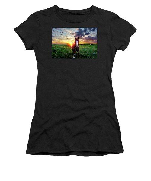 Horses At Sunset Women's T-Shirt