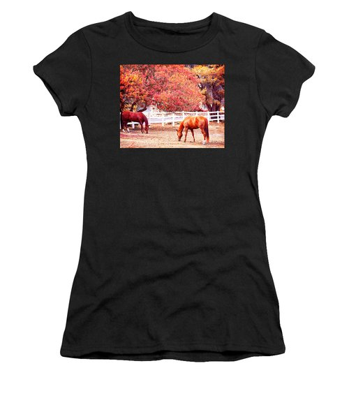 Horses, Grazing Women's T-Shirt (Athletic Fit)