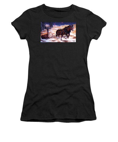 Horses Pulling Log Women's T-Shirt (Athletic Fit)