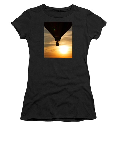 Hot Air Balloon Sunset Silhouette Women's T-Shirt (Athletic Fit)