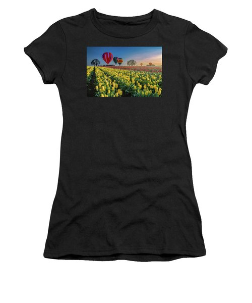 Hot Air Balloons Over Tulip Fields Women's T-Shirt (Athletic Fit)