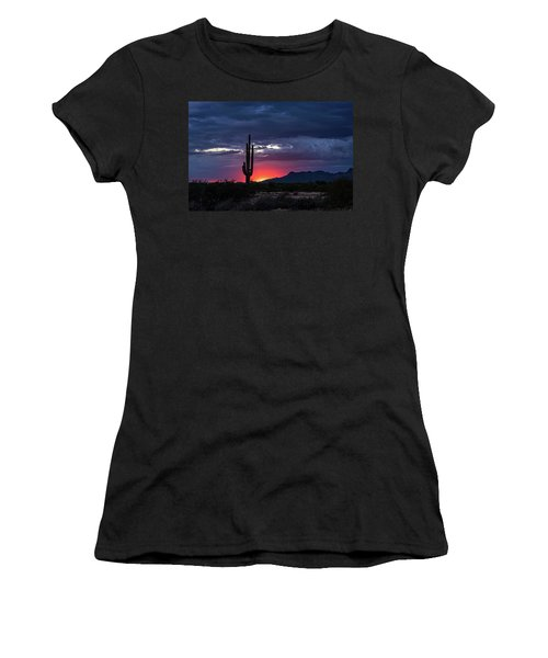 Women's T-Shirt (Athletic Fit) featuring the photograph Hot Pink Saguaro Sunset  by Saija Lehtonen