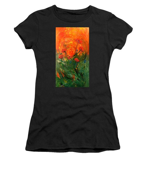 Hot Summer Poppies Women's T-Shirt (Athletic Fit)