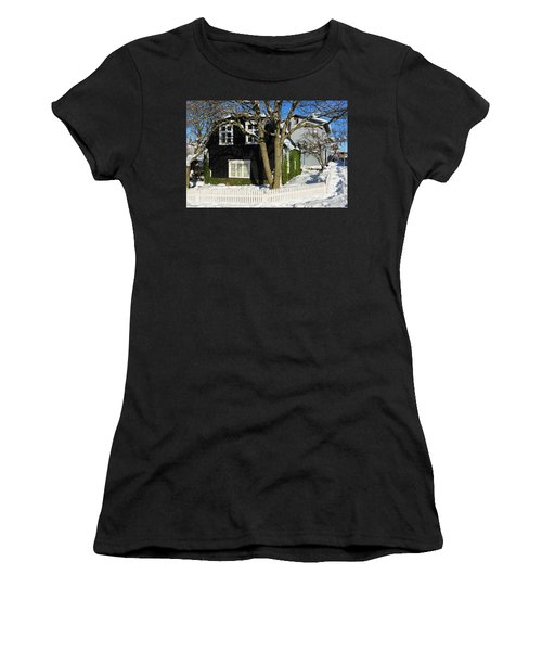 Women's T-Shirt (Junior Cut) featuring the photograph House In Reykjavik Iceland In Winter by Matthias Hauser