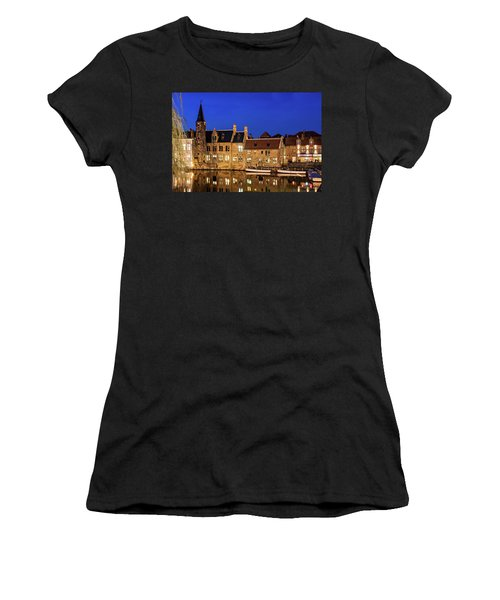 Women's T-Shirt featuring the photograph Houses By A Canal - Bruges, Belgium by Barry O Carroll