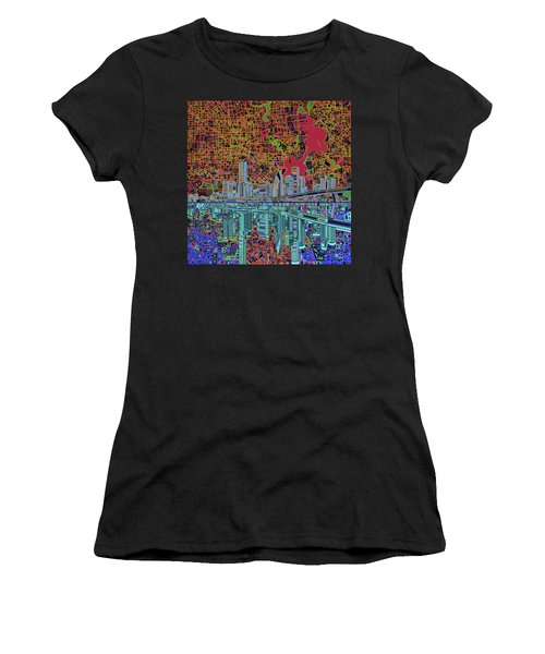 Houston Skyline Abstract 3 Women's T-Shirt (Athletic Fit)