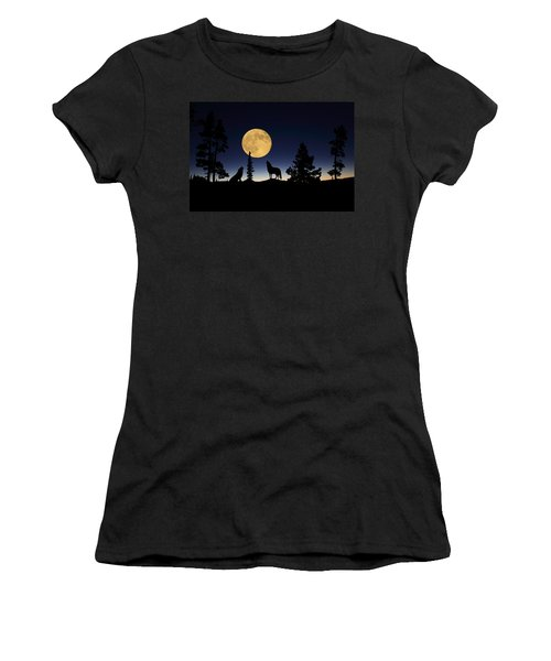 Howling At The Moon Women's T-Shirt (Athletic Fit)