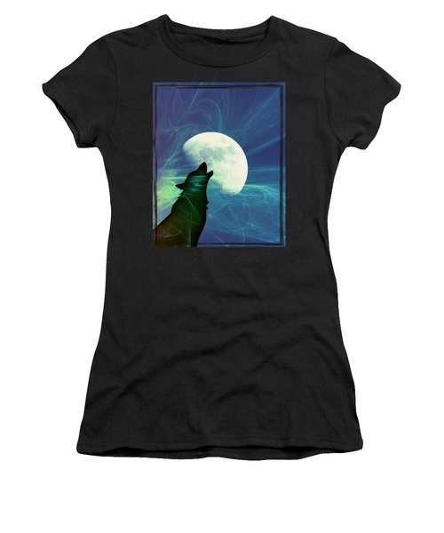 Women's T-Shirt (Junior Cut) featuring the photograph Howling Moon by Amanda Eberly-Kudamik