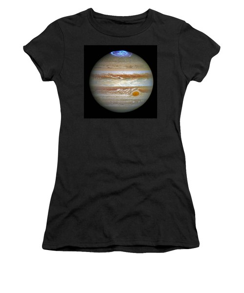 Women's T-Shirt (Junior Cut) featuring the photograph Hubble Captures Vivid Auroras In Jupiter's Atmosphere by Nasa