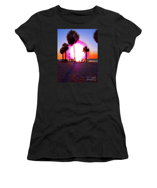 Huge Sun Pine Island Sunset  Women's T-Shirt (Athletic Fit)
