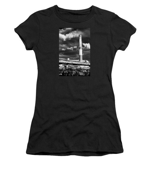 Huge Industrial Chimney And Smoke In Black And White Women's T-Shirt