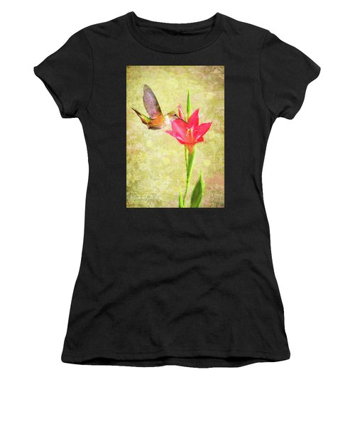 Hummingbird And Flower Women's T-Shirt (Athletic Fit)