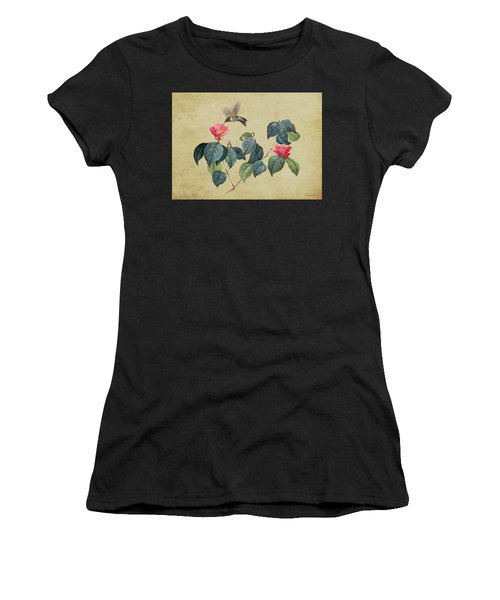 Hummingbird And Japanese Camillea Women's T-Shirt (Athletic Fit)