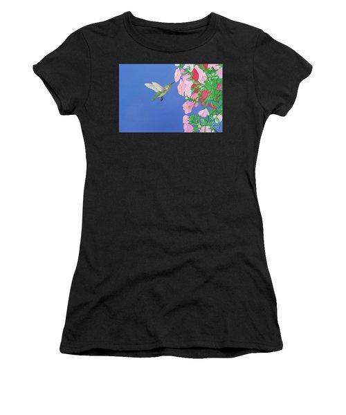 Hummingbird And Petunias Women's T-Shirt