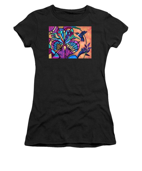 Hummingbird And Stained Glass Hearts Women's T-Shirt