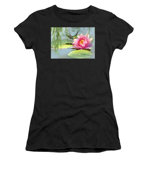 Hummingbird And Water Lily Women's T-Shirt