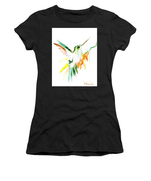 Hummingbird Green Orange Red Women's T-Shirt (Athletic Fit)