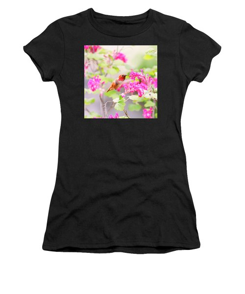 Hummingbird In Spring Women's T-Shirt (Athletic Fit)