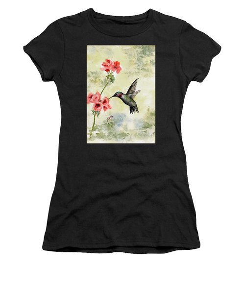 Women's T-Shirt featuring the painting Hummingbird by Sam Sidders