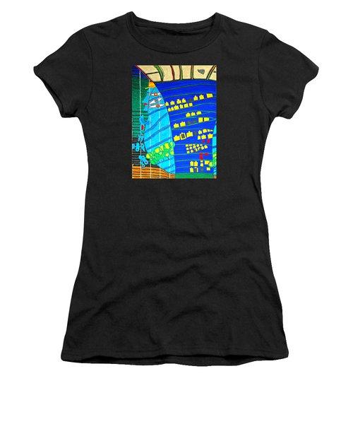 Hundertwasser Blue Moon Atlantis Escape To Outer Space Women's T-Shirt (Athletic Fit)