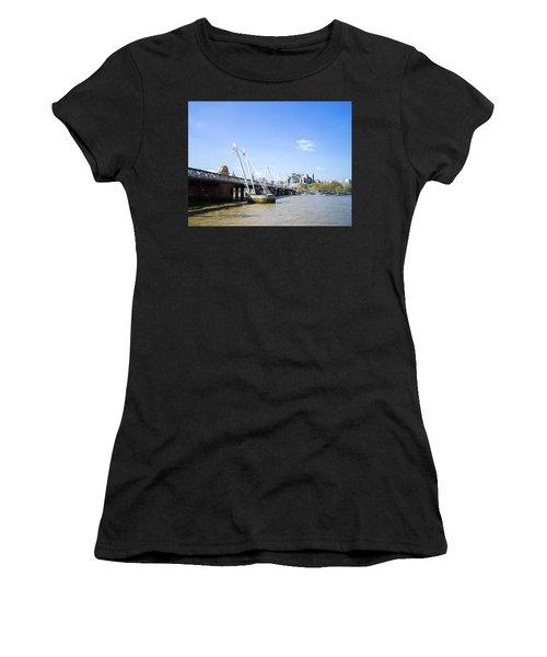 Women's T-Shirt featuring the photograph Hungerford Bridge And Golden Jubilee Bridges by Stewart Marsden