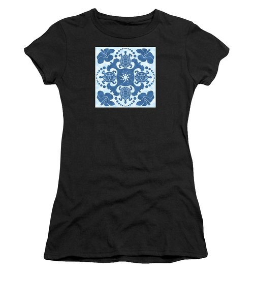Hybiscus And Turtle Hawaiian Quilt Block Women's T-Shirt (Athletic Fit)