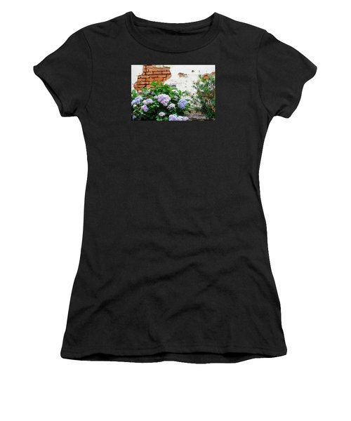 Hydrangea And Bricks Women's T-Shirt (Athletic Fit)