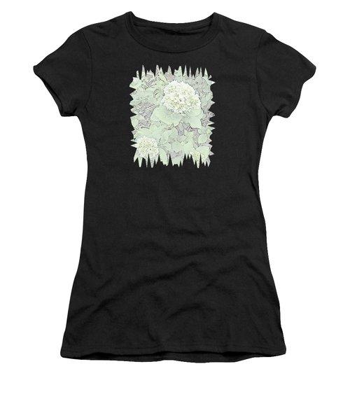 Hydrangea Pencil Sketch With Jagged Edge  Women's T-Shirt