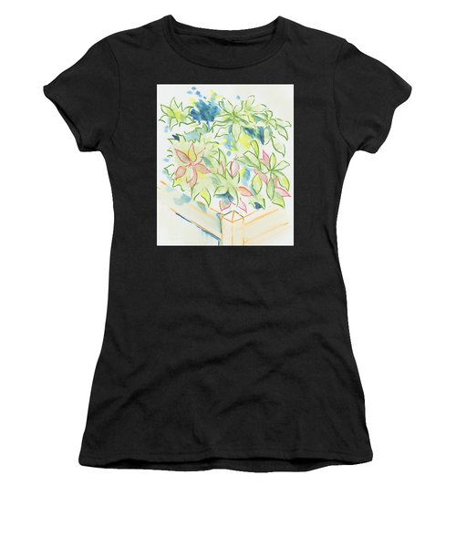 Hydrangea Plant Growing Out Of A Square Wooden Planter Women's T-Shirt