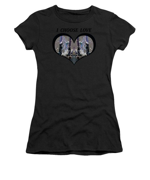 I Choose Love With Blue Dragonflies On A Branch In A Heart Women's T-Shirt