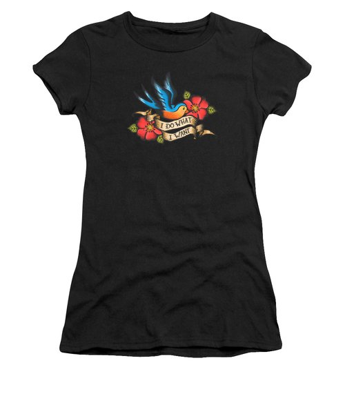 I Do What I Want Vintage Bluebird And Rose Tattoo Women's T-Shirt (Athletic Fit)