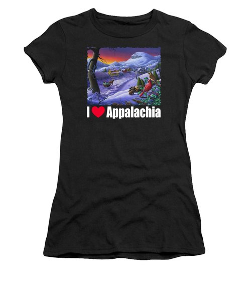 I Love Appalachia T Shirt - Small Town Winter Landscape 2 - Cardinals Women's T-Shirt (Athletic Fit)