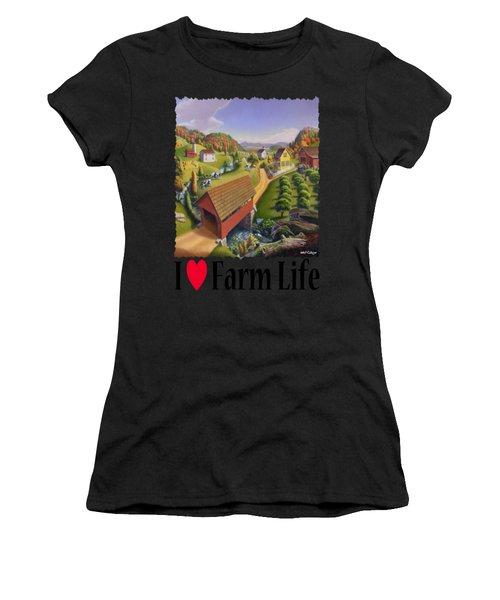 I Love Farm - Appalachian Covered Bridge - Rural Farm Landscape Women's T-Shirt
