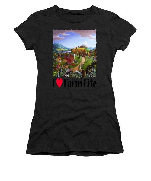 I Love Farm Life - Appalachian Blackberry Patch - Rural Farm Landscape Women's T-Shirt