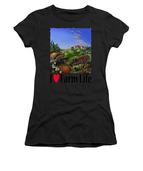 I Love Farm Life - Groundhog - Spring In Appalachia - Rural Farm Landscape Women's T-Shirt (Athletic Fit)