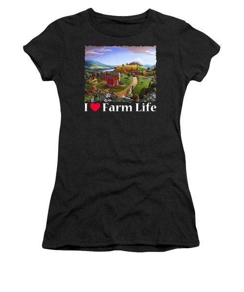 I Love Farm Life T Shirt - Appalachian Blackberry Patch 2 - Rural Farm Landscape Women's T-Shirt