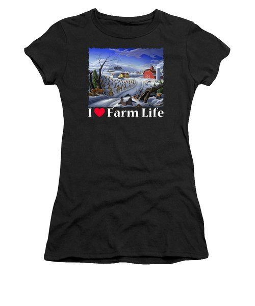 I Love Farm Life Shirt - Rural Winter Country Farm Landscape 2 Women's T-Shirt