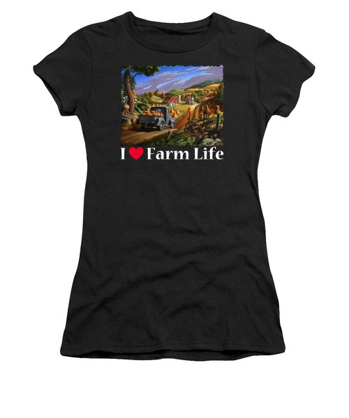 I Love Farm Life Shirt - Taking Pumpkins To Market - Farm Landscape Women's T-Shirt