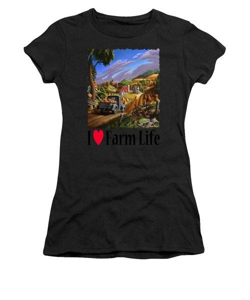I Love Farm Life - Taking Pumpkins To Market - Appalachian Farm Landscape Women's T-Shirt
